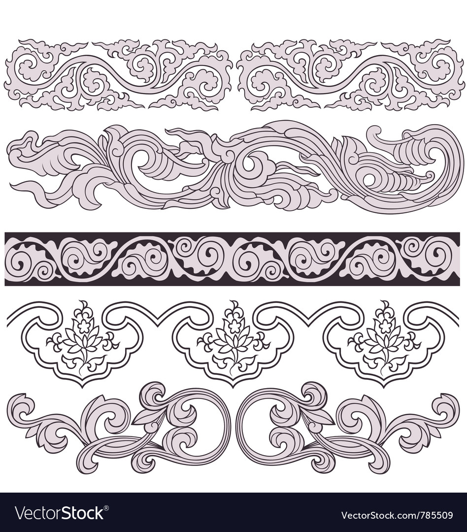 Scroll floral pattern vector | Price: 1 Credit (USD $1)