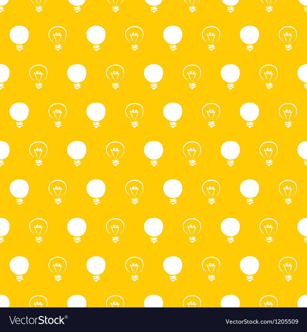 Seamless light bulbs pattern on yellow background vector | Price: 1 Credit (USD $1)