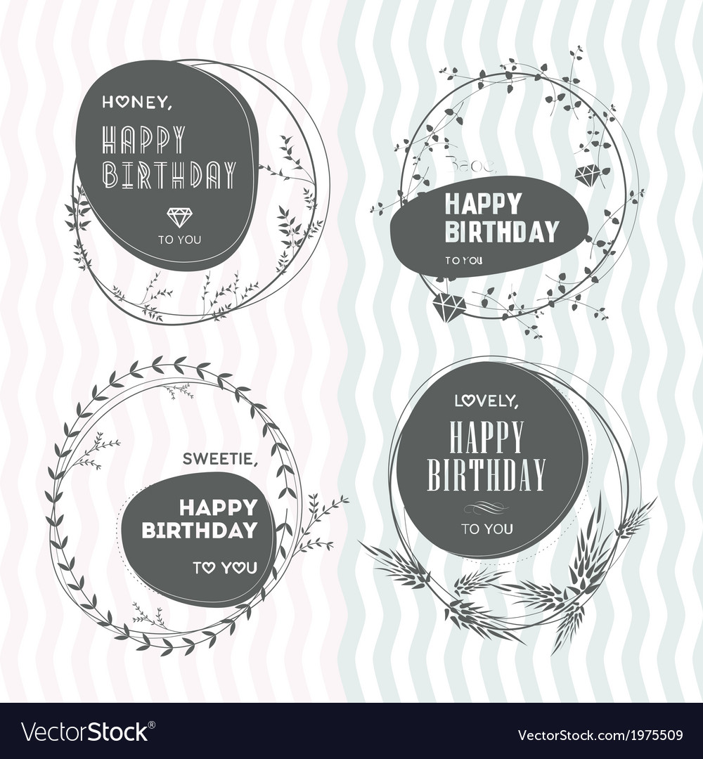 Set of floral stamps birthday vector | Price: 1 Credit (USD $1)