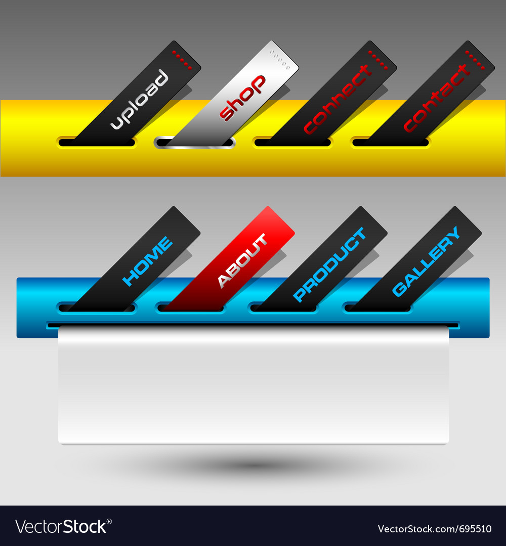 Colored buttons ticket website menu vector | Price: 1 Credit (USD $1)