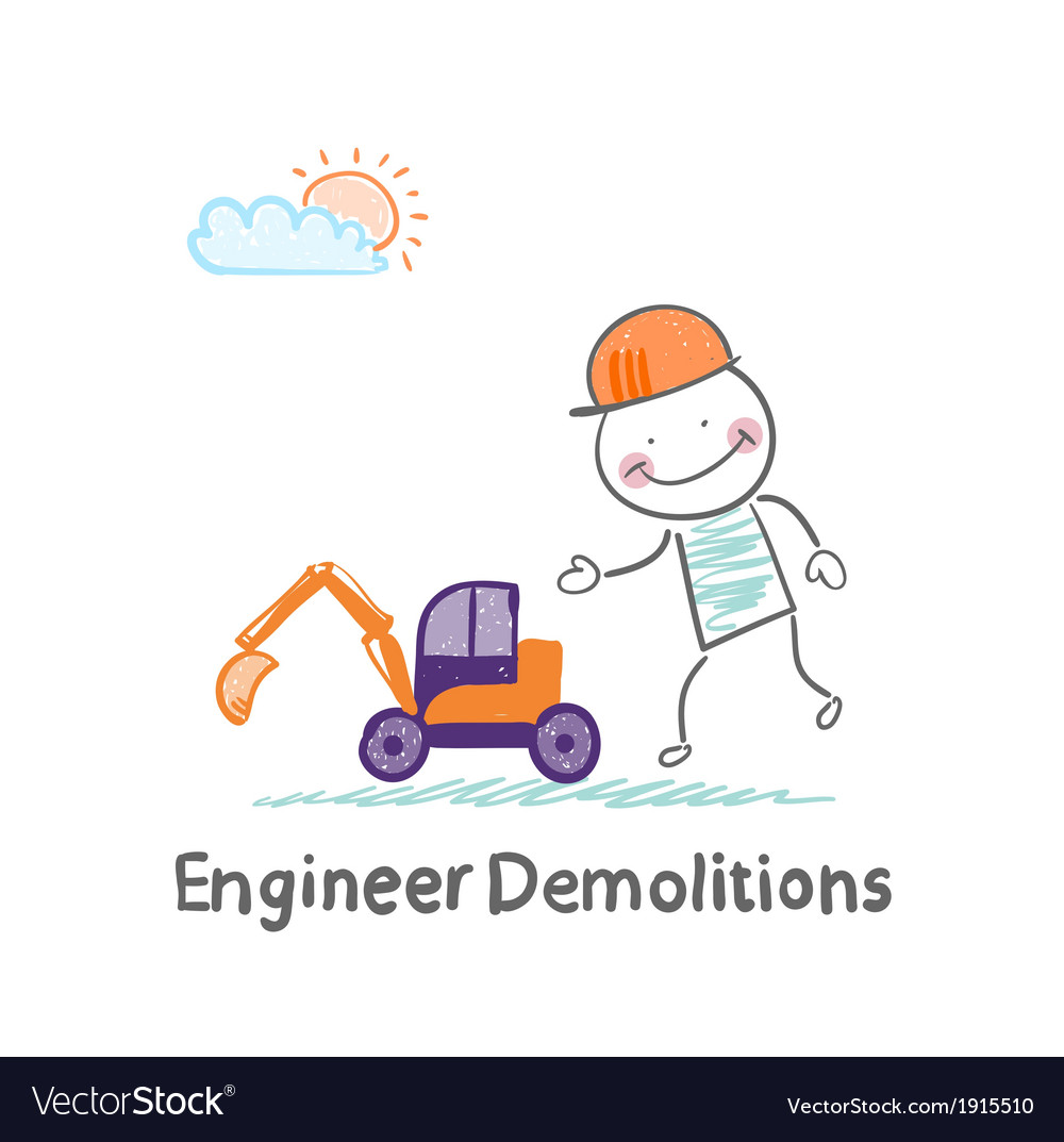 Engineer demolitions looks at a toy excavator vector | Price: 1 Credit (USD $1)