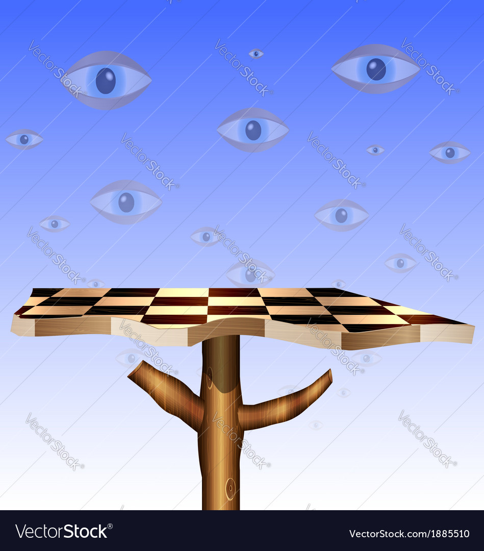Eyes in the sky and abstract chess board vector | Price: 1 Credit (USD $1)
