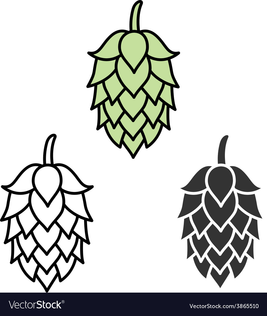 Hop beer sign symbol label vector | Price: 1 Credit (USD $1)