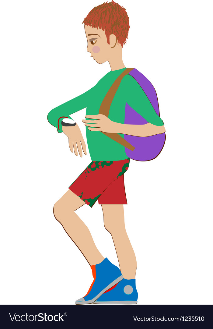 Kid with watch vector | Price: 1 Credit (USD $1)