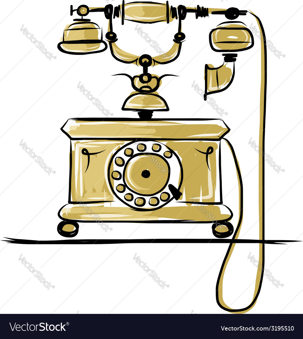 Retro telephone sketch for your design vector | Price: 1 Credit (USD $1)