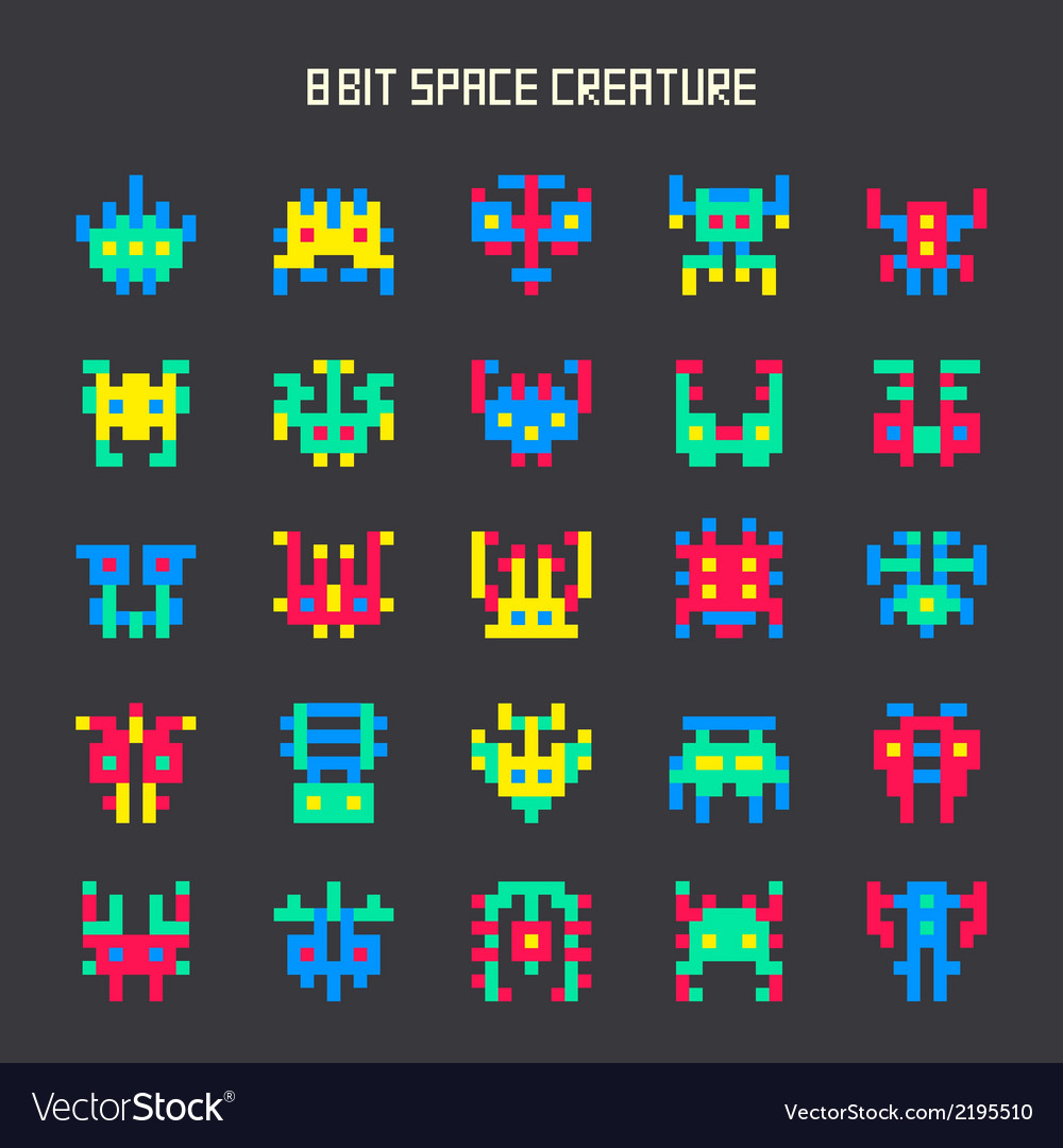 Set of 8-bit color space monsters vector | Price: 1 Credit (USD $1)
