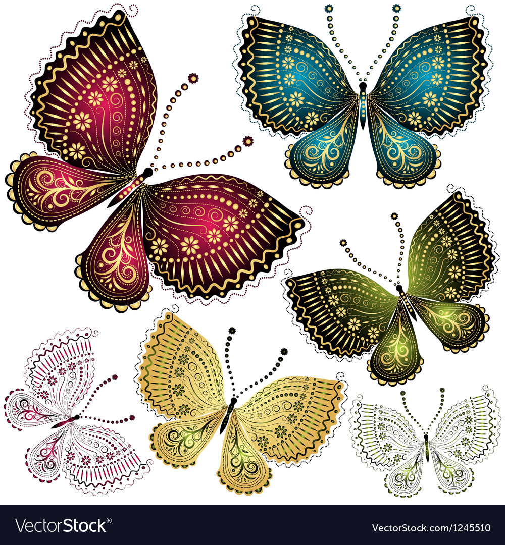 Set vintage butterflies vector | Price: 1 Credit (USD $1)
