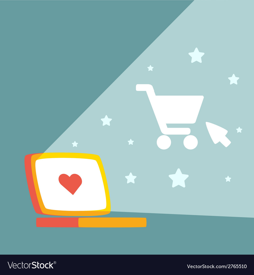 Shopping on line at night vector | Price: 1 Credit (USD $1)
