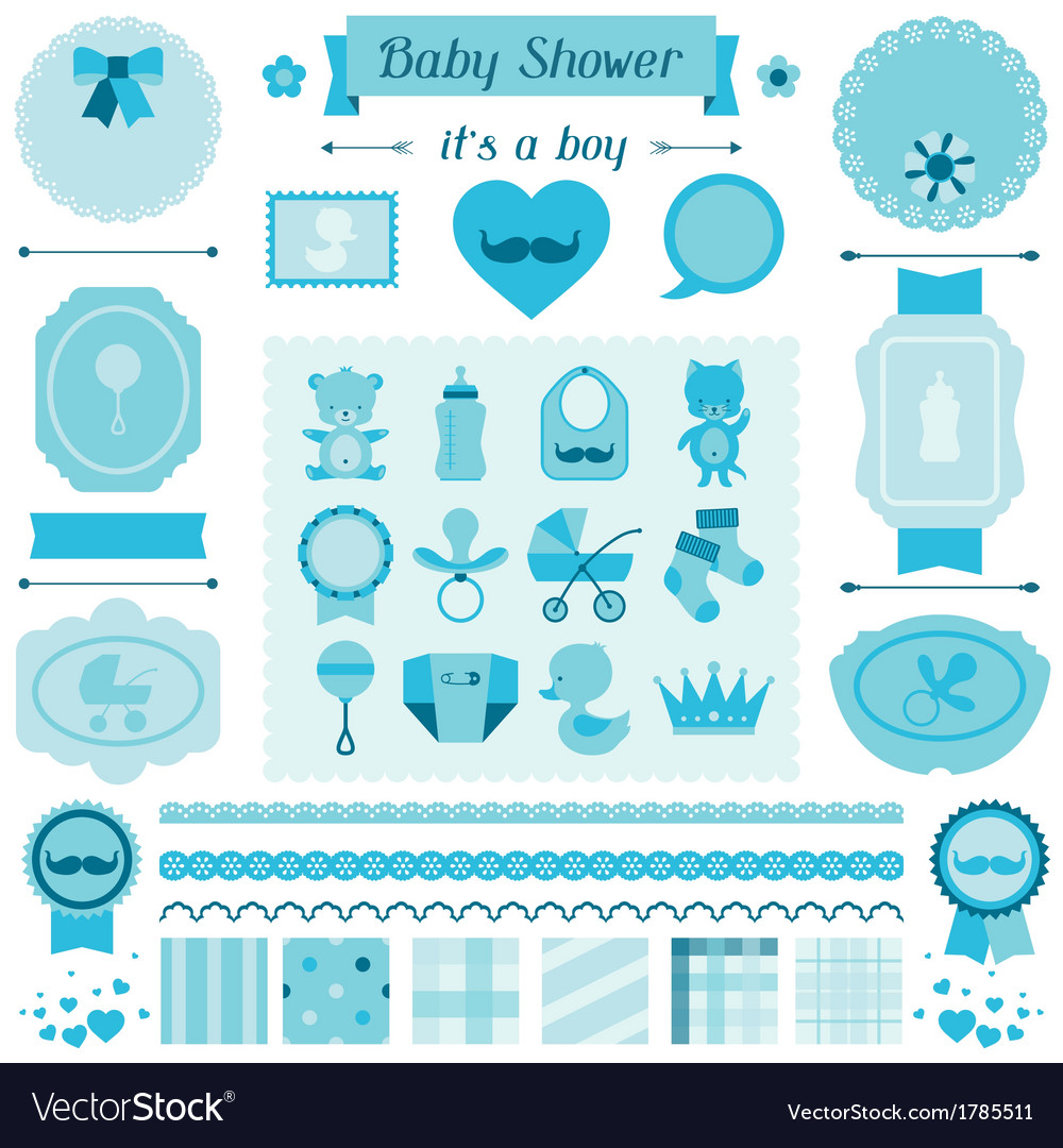 Boy baby shower set of elements for design vector | Price: 1 Credit (USD $1)