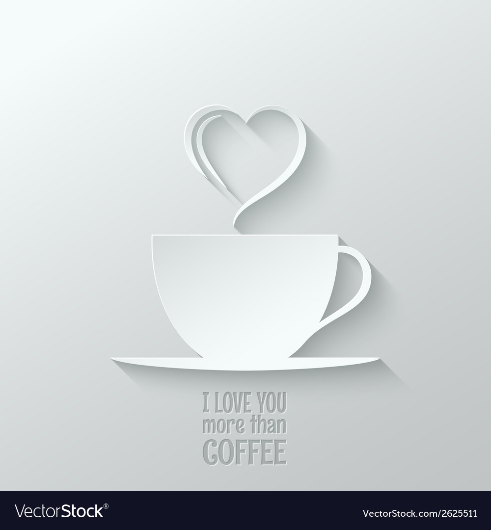 Coffee love paper cut design background vector | Price: 1 Credit (USD $1)