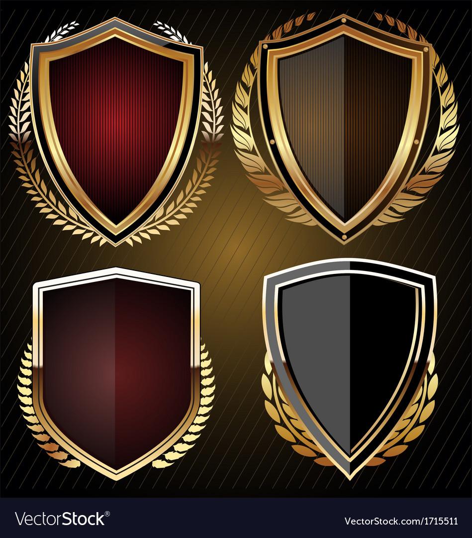 Golden shield set vector | Price: 1 Credit (USD $1)