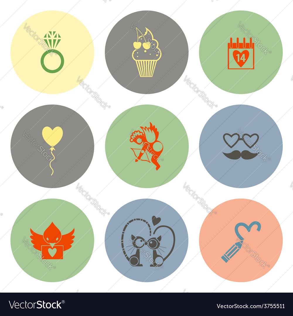 Happy valentines day icons vector | Price: 1 Credit (USD $1)
