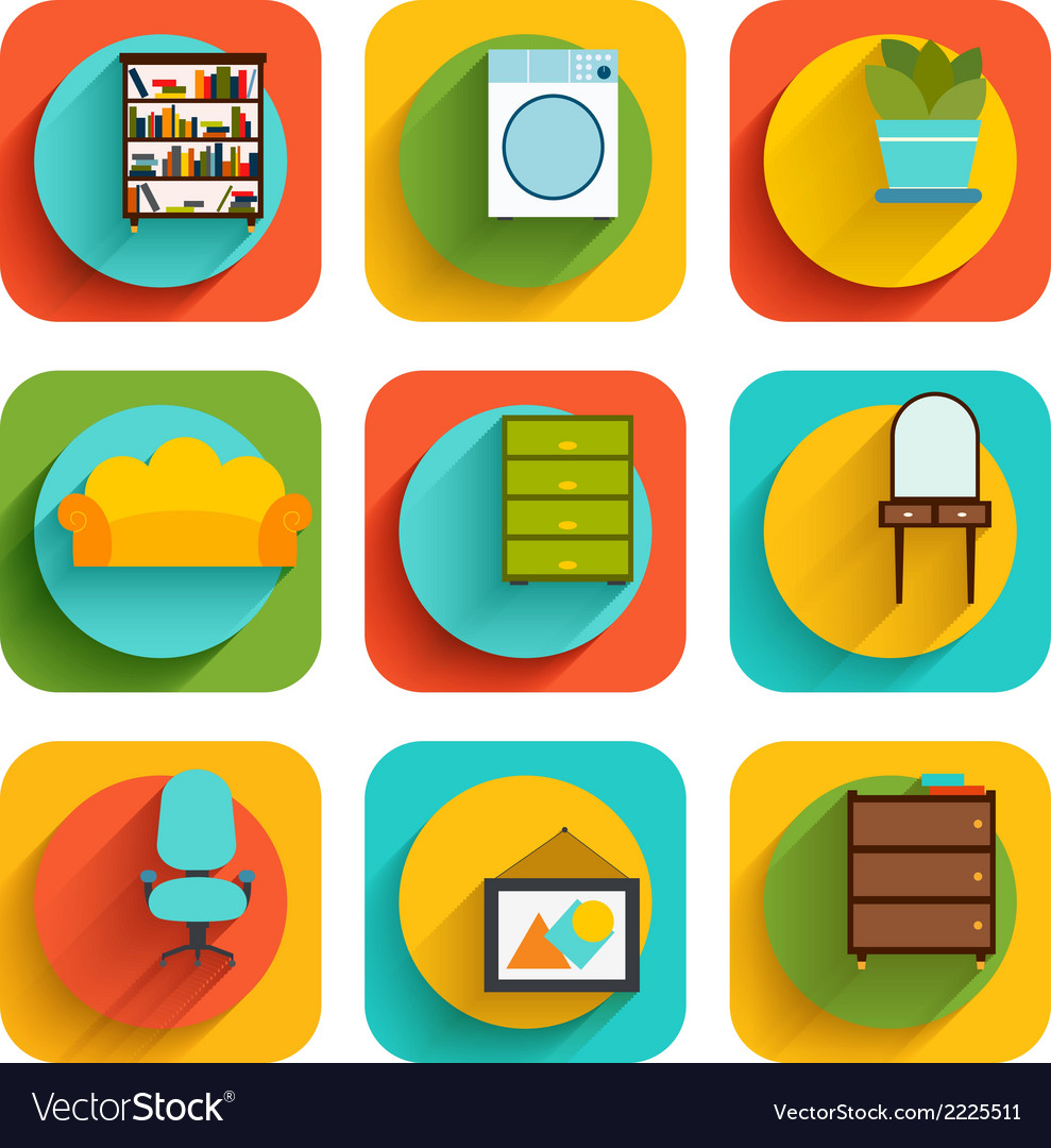 House interior furniture icons vector | Price: 1 Credit (USD $1)