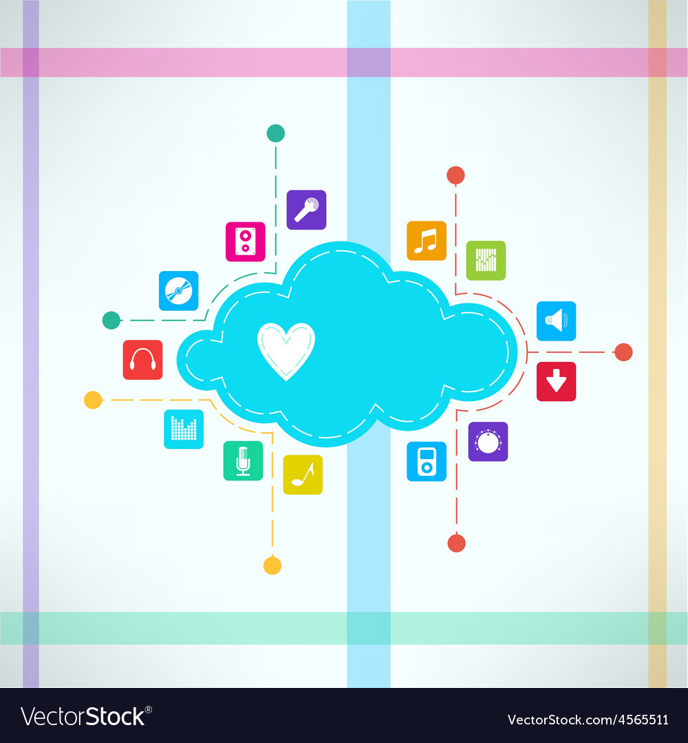 Music cloud with icons set online music vector | Price: 1 Credit (USD $1)