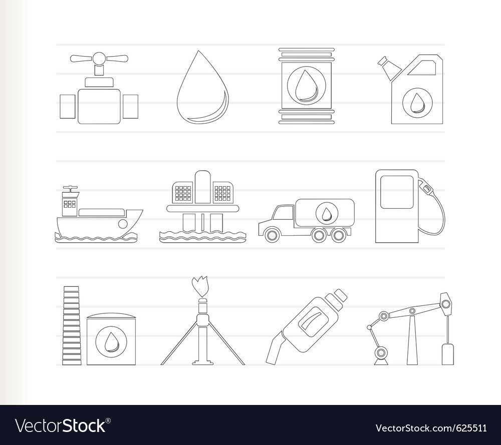 Oil and petrol industry objects icons vector | Price: 1 Credit (USD $1)