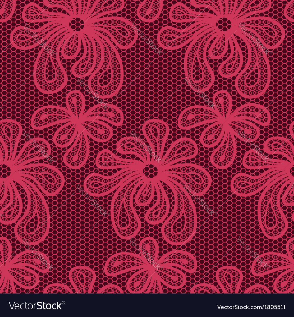 Red seamless flower lace pattern vector | Price: 1 Credit (USD $1)