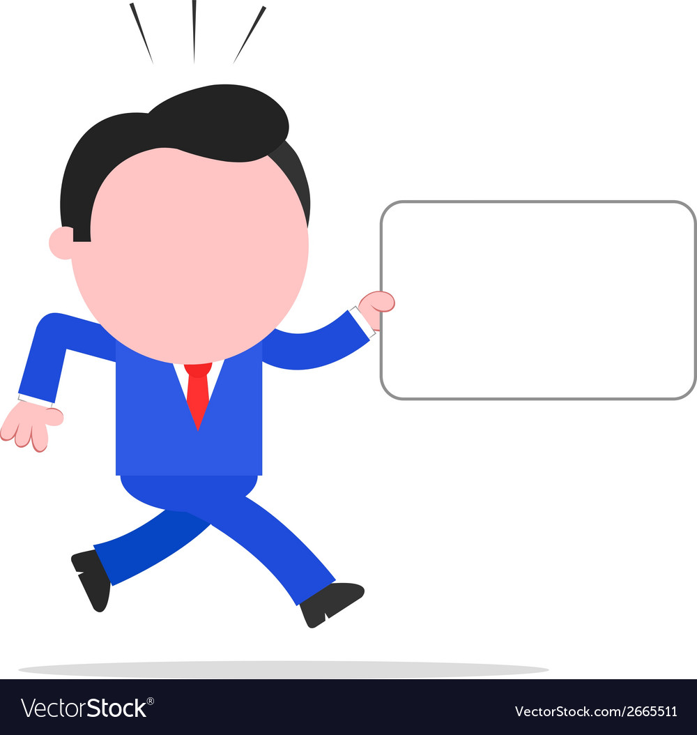 Running businessman holding sign vector | Price: 1 Credit (USD $1)
