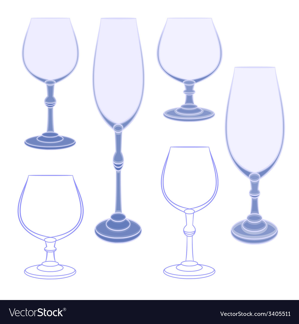 Six champaign wineglass blue crystal vector | Price: 1 Credit (USD $1)
