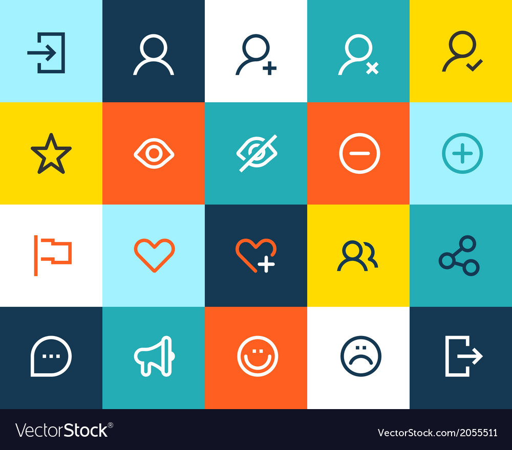 Social and communication icons flat vector | Price: 1 Credit (USD $1)