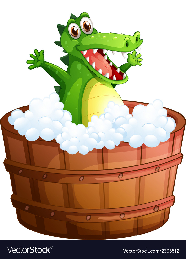 A crocodile taking a bath vector | Price: 1 Credit (USD $1)