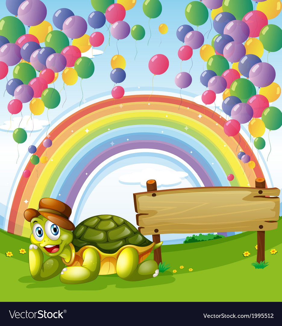 A turtle beside the empty board with a rainbow and vector | Price: 3 Credit (USD $3)