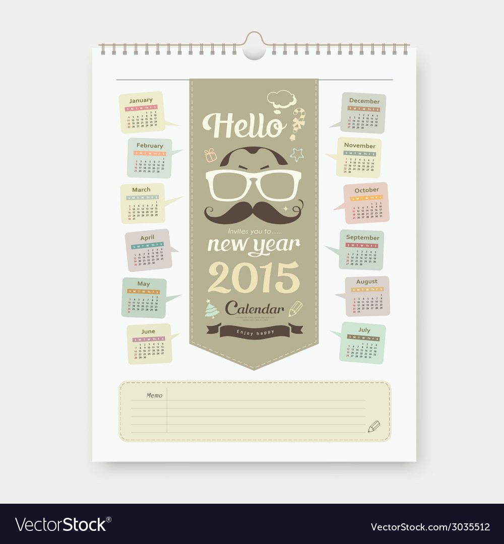 Calendar 2015 fathers day concept design vector | Price: 1 Credit (USD $1)