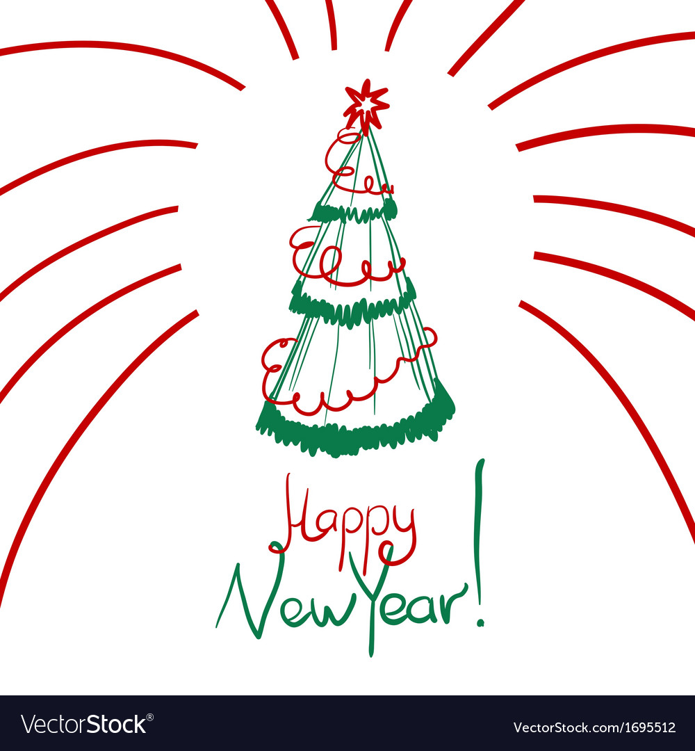 Christmas card with sketch new year tree vector | Price: 1 Credit (USD $1)