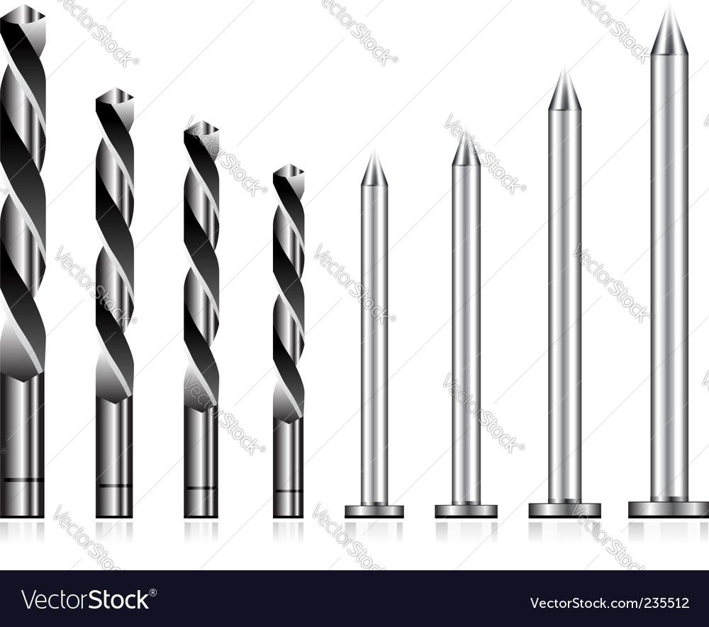 Drill and nail icons vector