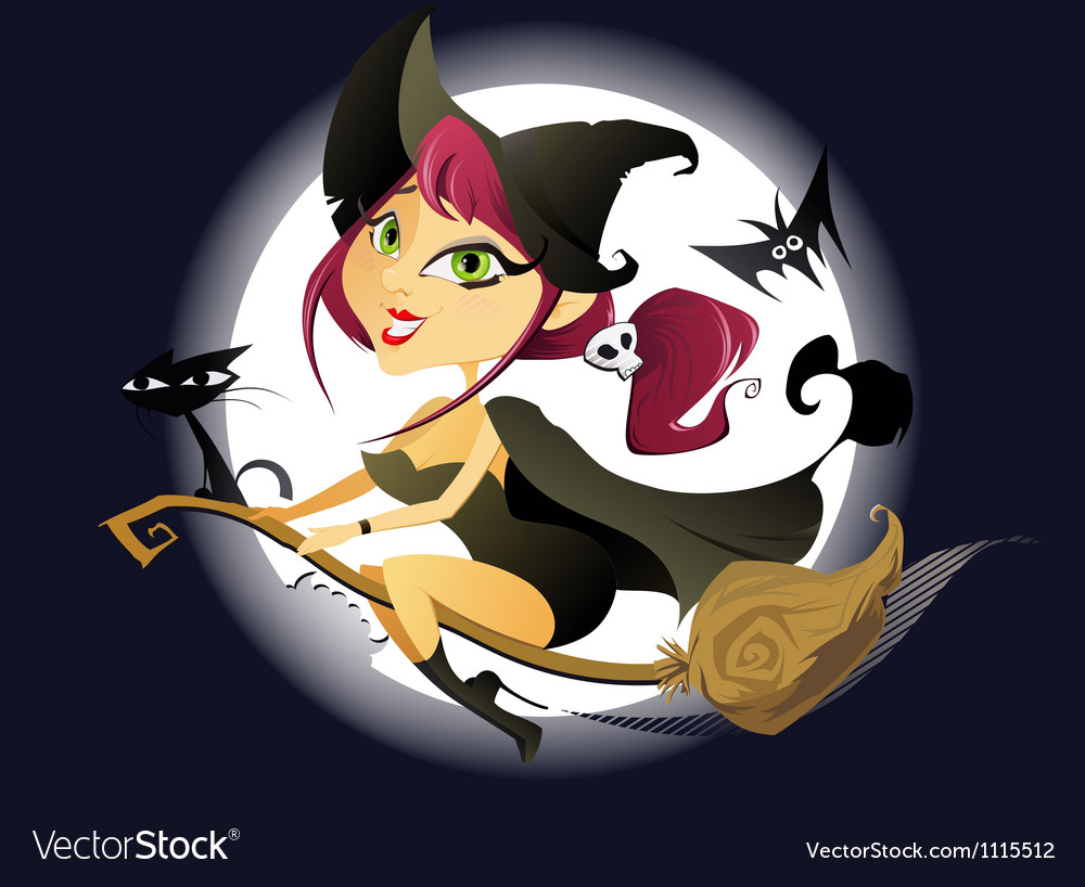 Halloween witch and full moon vector | Price: 3 Credit (USD $3)