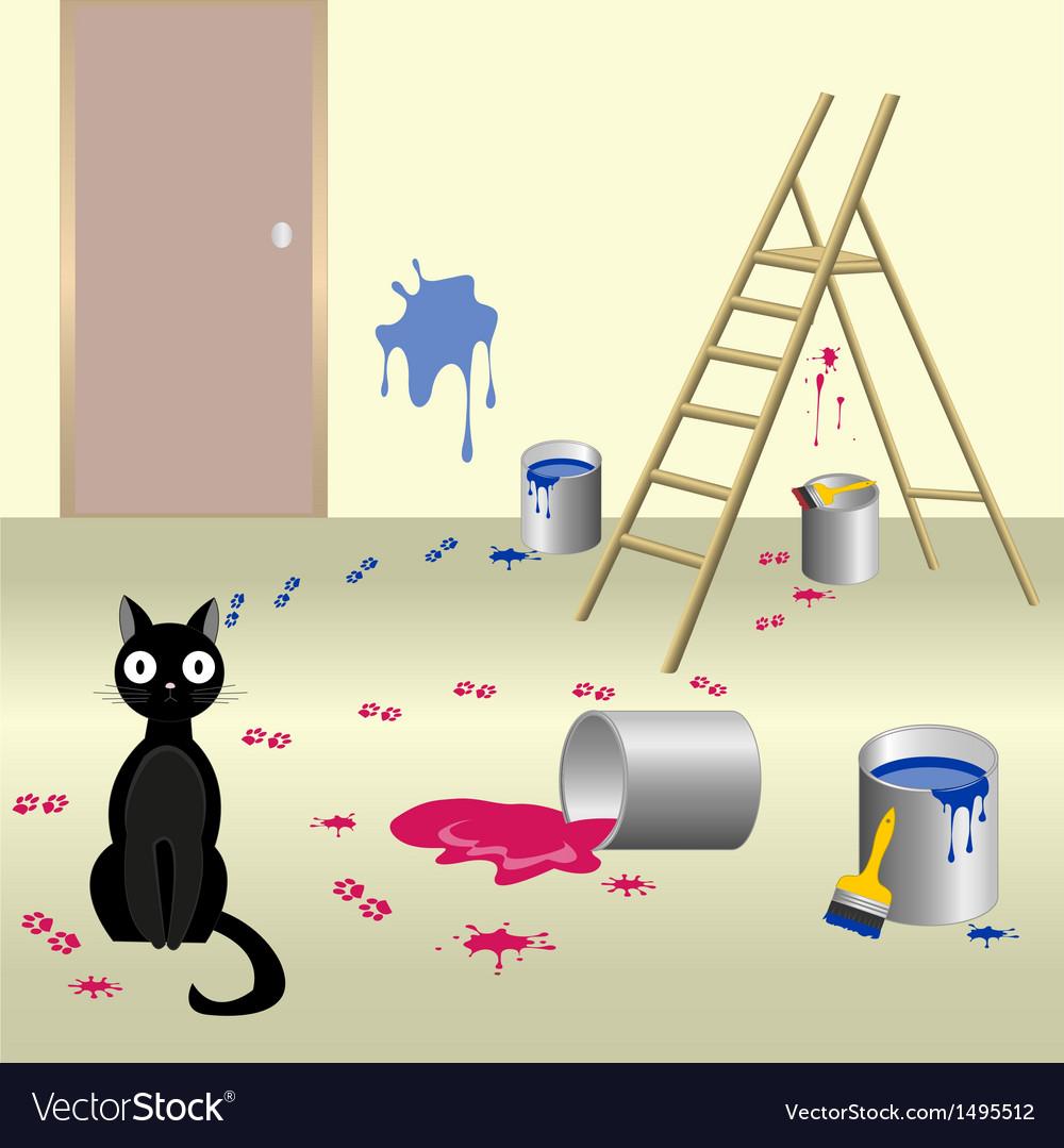 Naughty cat 6 vector | Price: 3 Credit (USD $3)