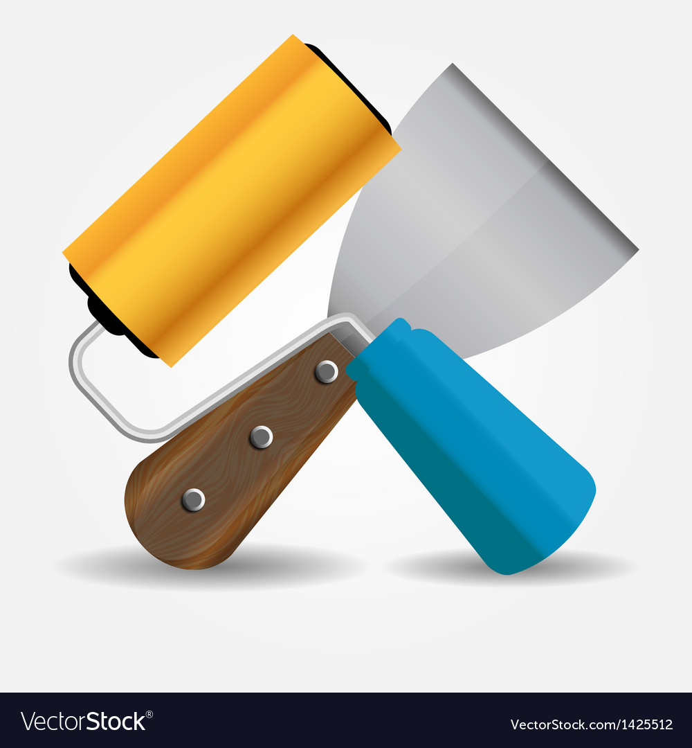 Paint roll and spatula icon vector | Price: 1 Credit (USD $1)