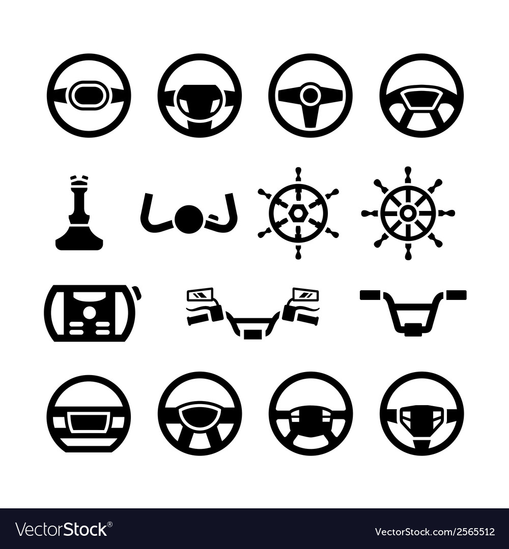 Set icons of steering wheel marine steering vector | Price: 1 Credit (USD $1)