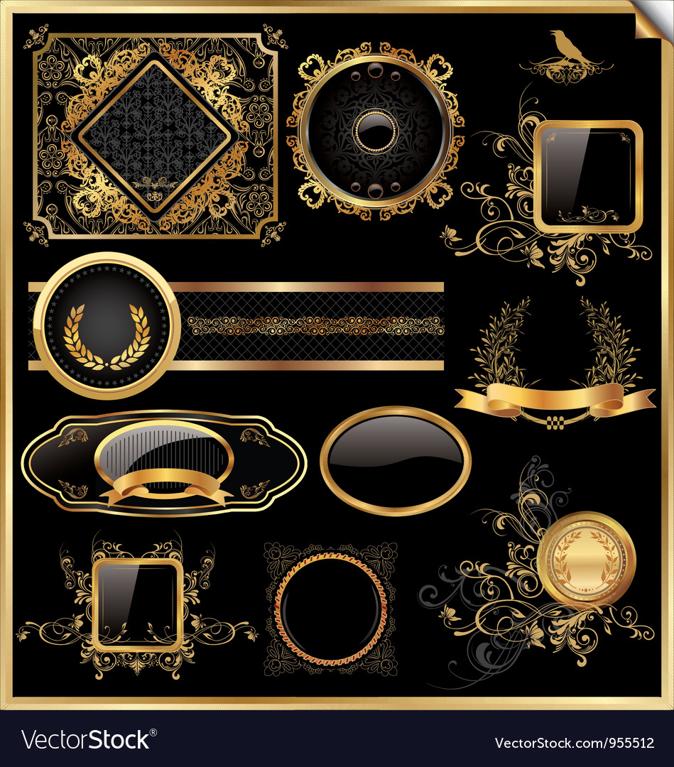 Set of black gold - framed labels vector | Price: 1 Credit (USD $1)