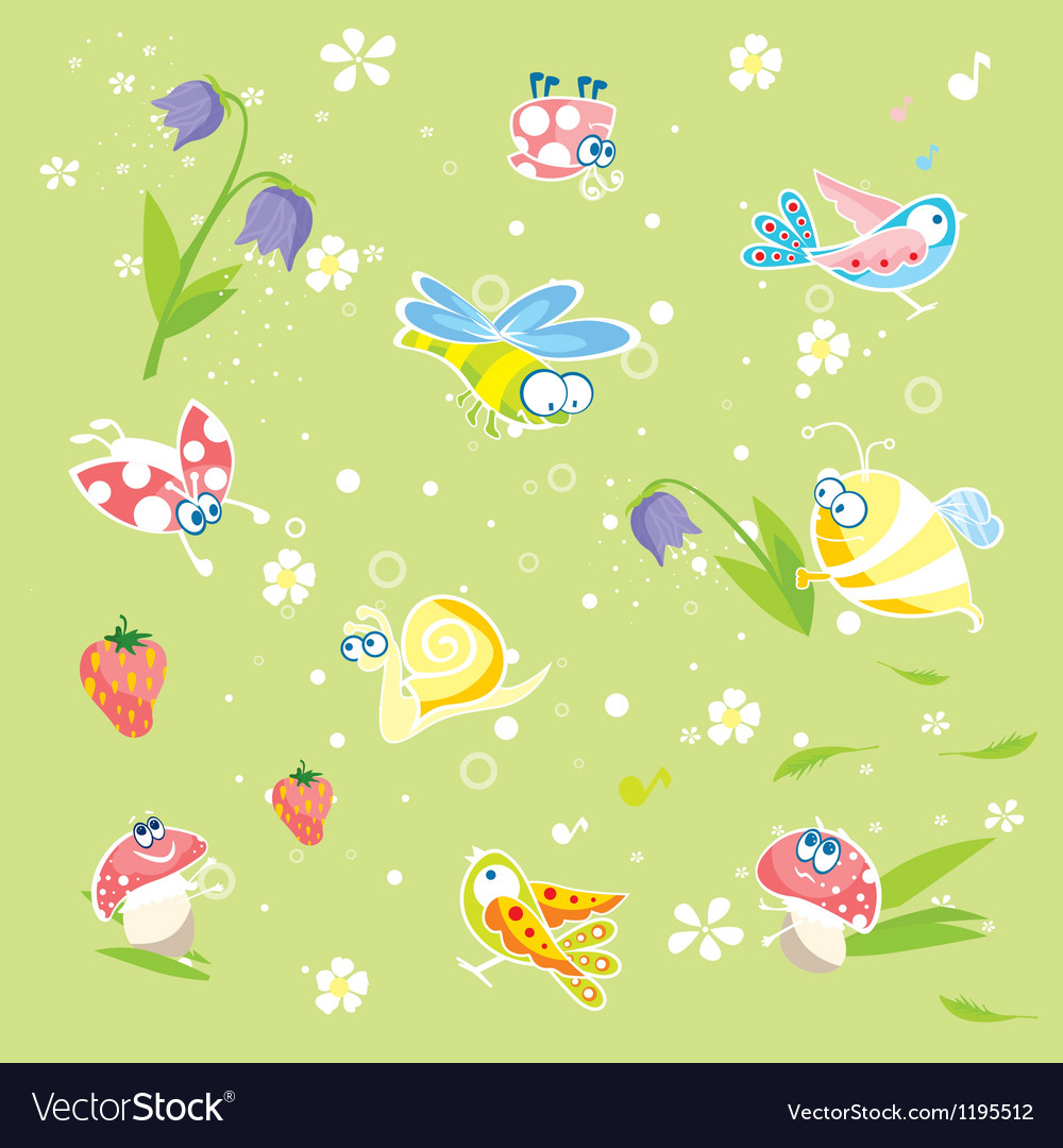 Spring green background with insects and flowers vector | Price: 1 Credit (USD $1)