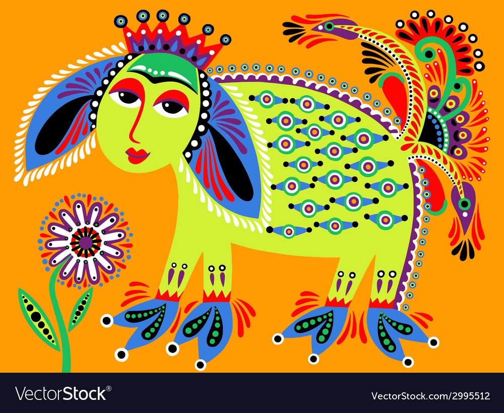 Ukrainian tribal ethnic painting unusual animal vector | Price: 1 Credit (USD $1)