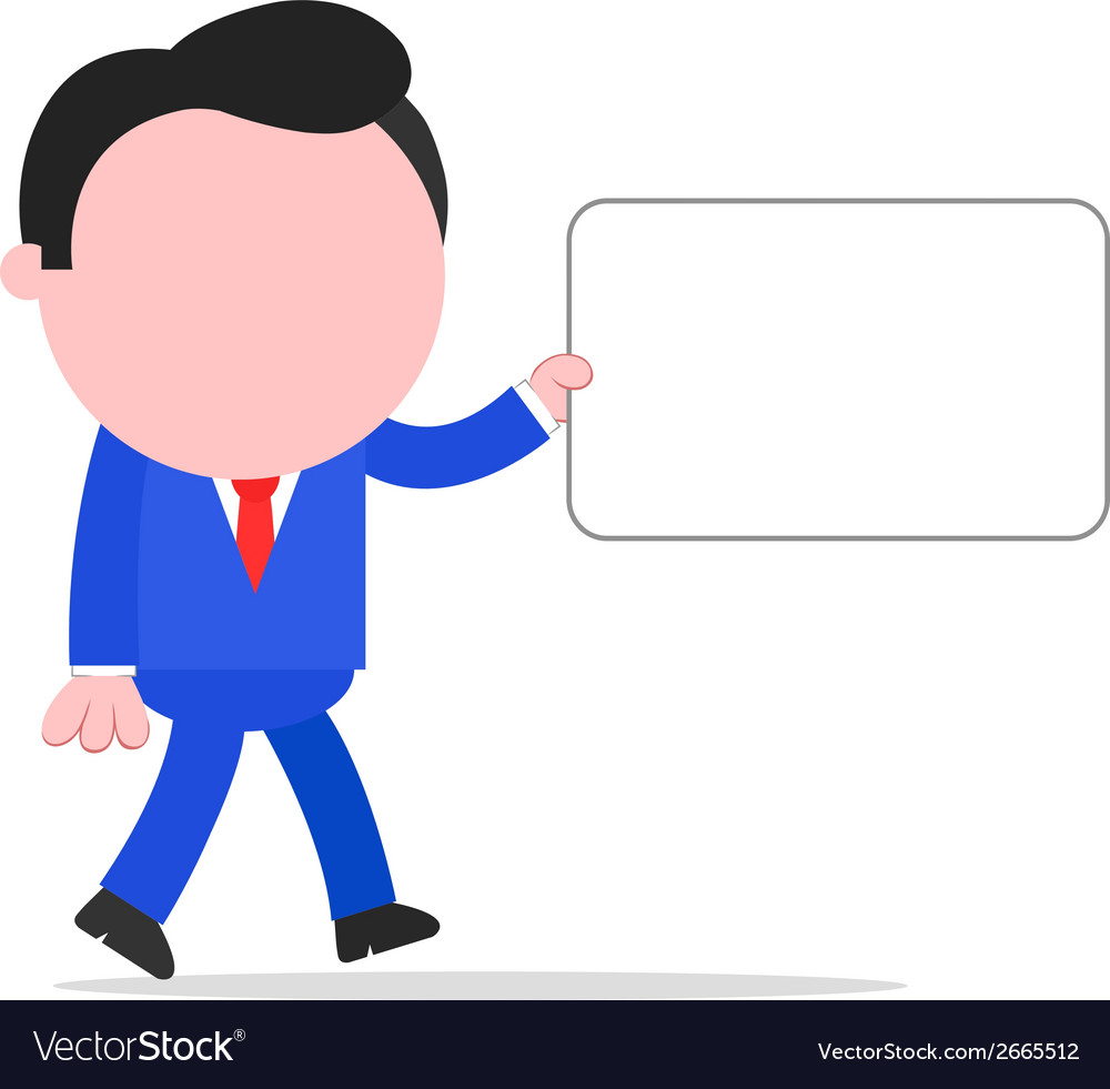 Walking businessman holding sign vector | Price: 1 Credit (USD $1)