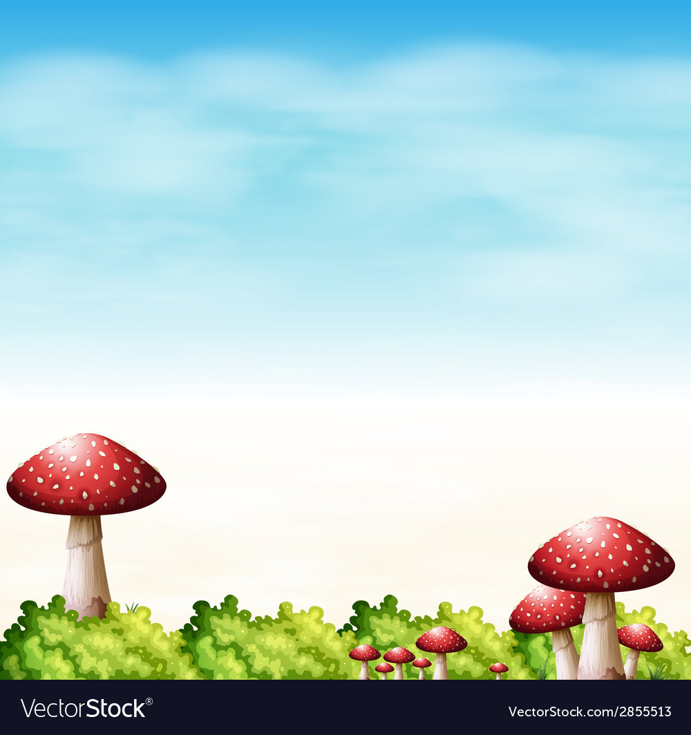 A garden with red mushrooms vector | Price: 1 Credit (USD $1)