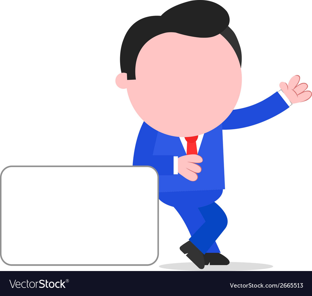 Businessman leaning on sign vector | Price: 1 Credit (USD $1)