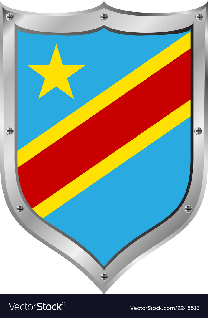 Democratic republic of the congo flag button vector | Price: 1 Credit (USD $1)