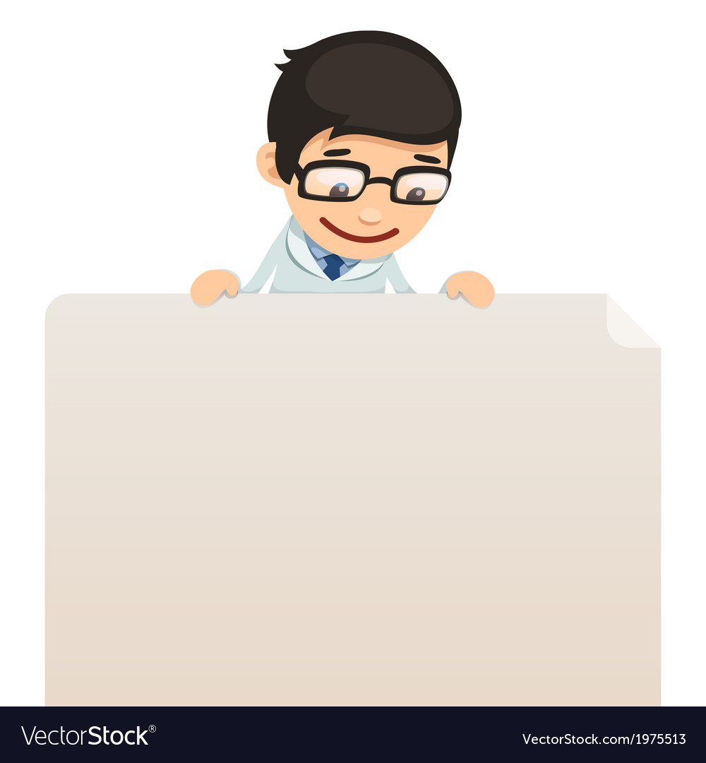 Male doctor looking at blank poster on top vector | Price: 1 Credit (USD $1)