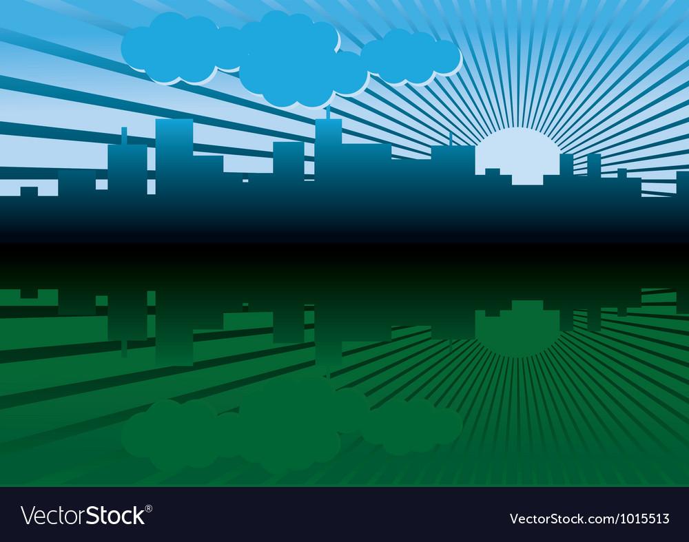 Morning city landscape vector | Price: 1 Credit (USD $1)