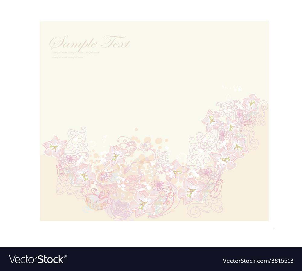 Romantic flower invitation card vector | Price: 1 Credit (USD $1)