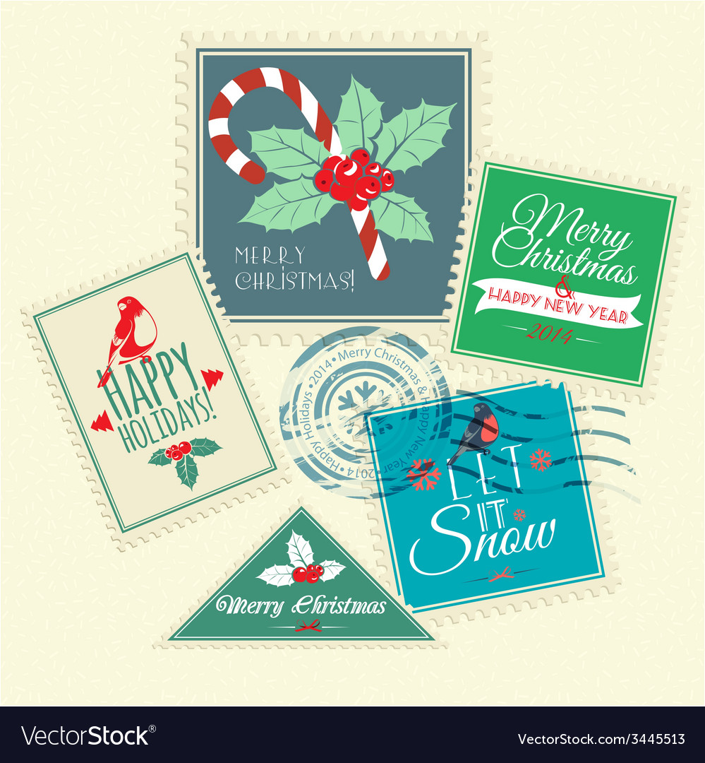 Set of christmas postal stamps vector | Price: 1 Credit (USD $1)