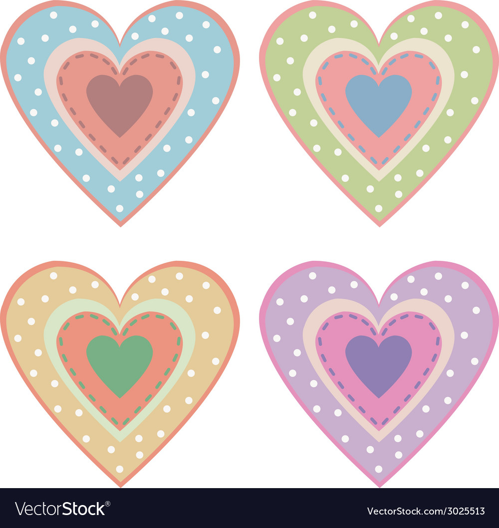 Set of cute hearts vector | Price: 1 Credit (USD $1)