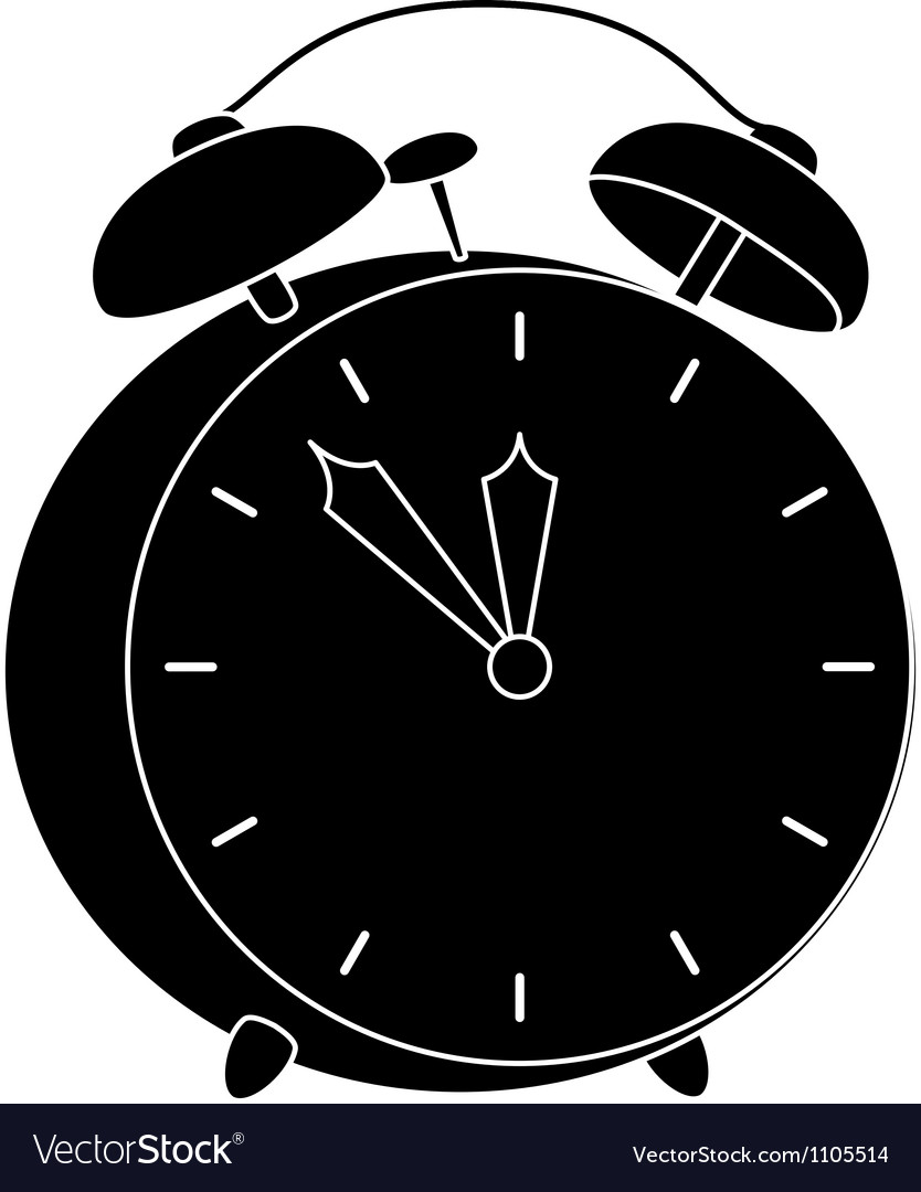 Alarm clock black silhouette vector | Price: 1 Credit (USD $1)
