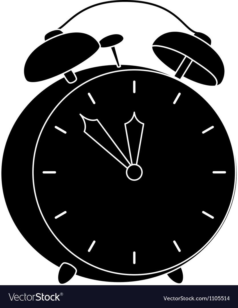 Alarm clock black silhouette vector | Price: 1 Credit (USD $1)