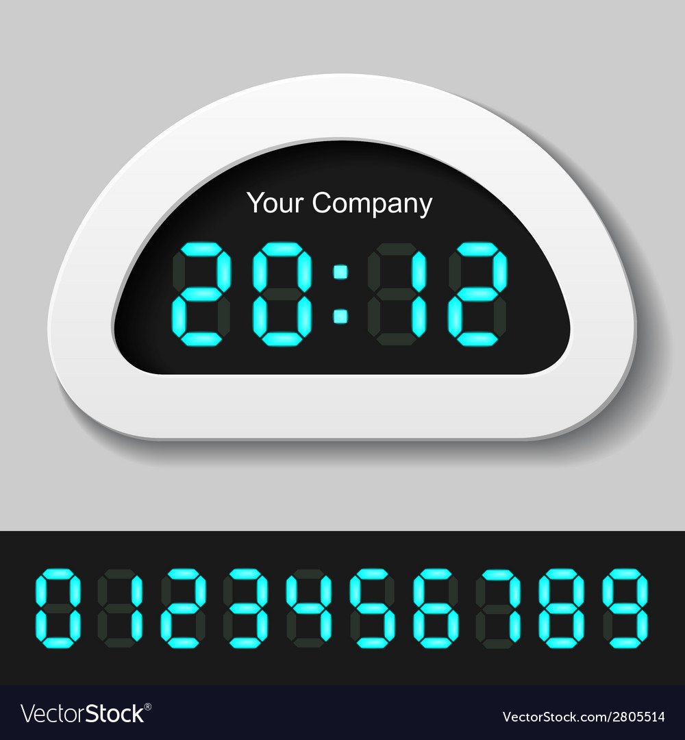 Blue glowing digital numbers - clock or counter vector | Price: 1 Credit (USD $1)
