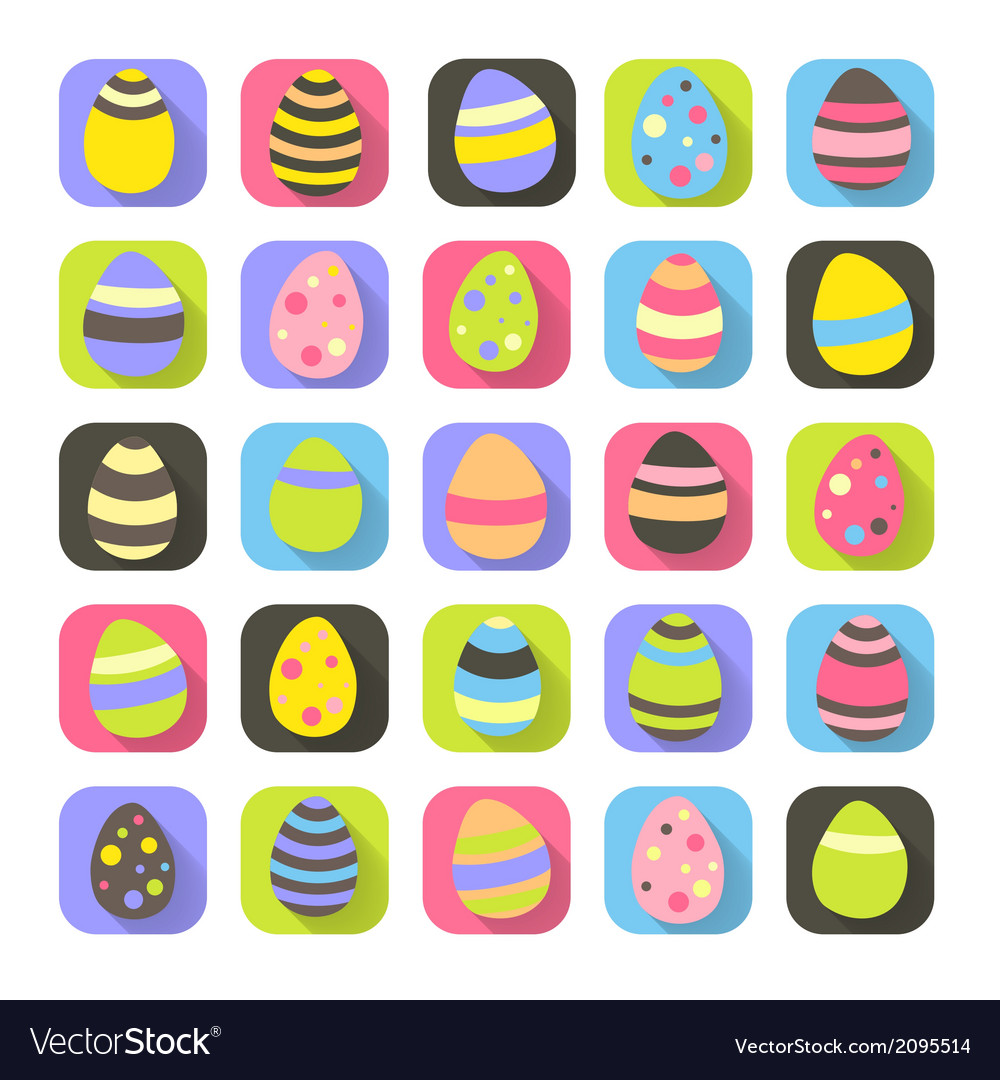 Colorful easter symbols set eggs icons vector | Price: 1 Credit (USD $1)