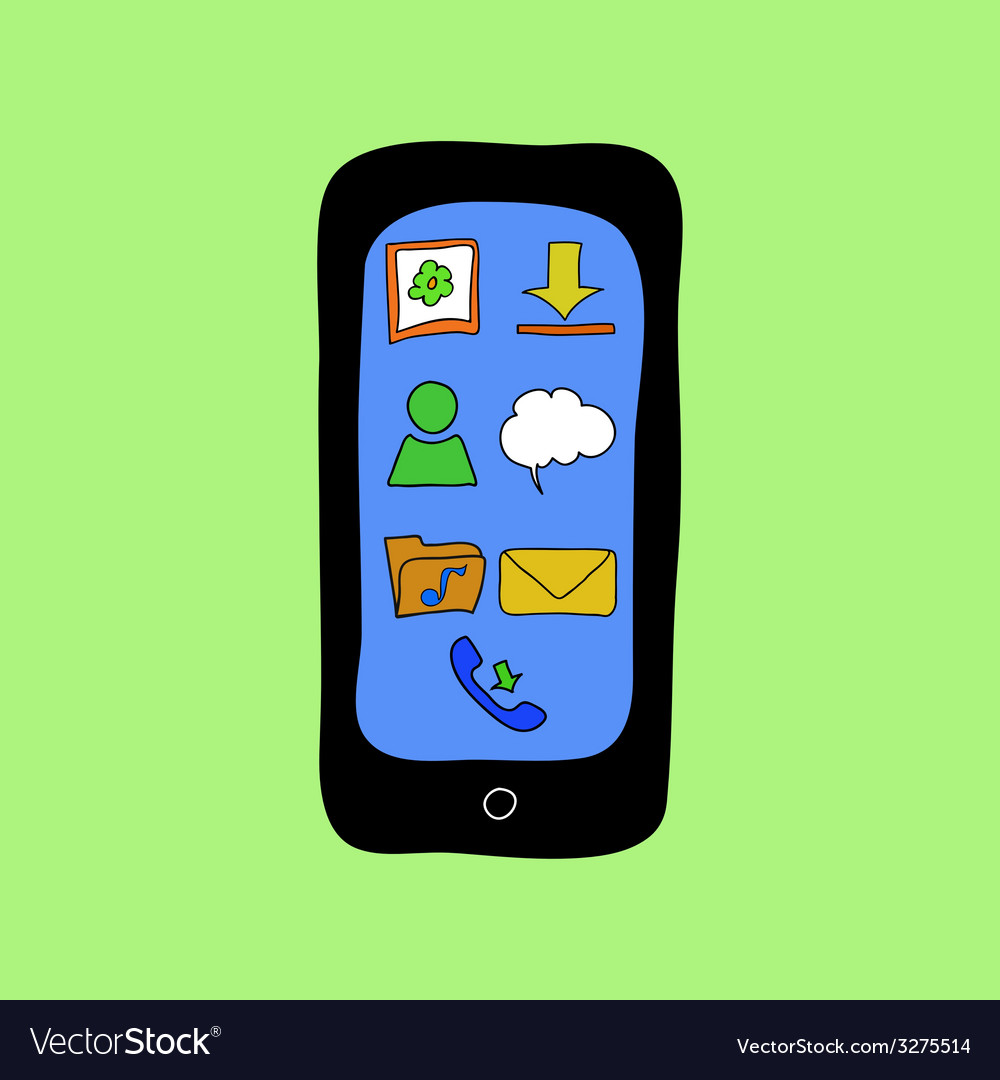 Doodle style phone with apps icons vector | Price: 1 Credit (USD $1)