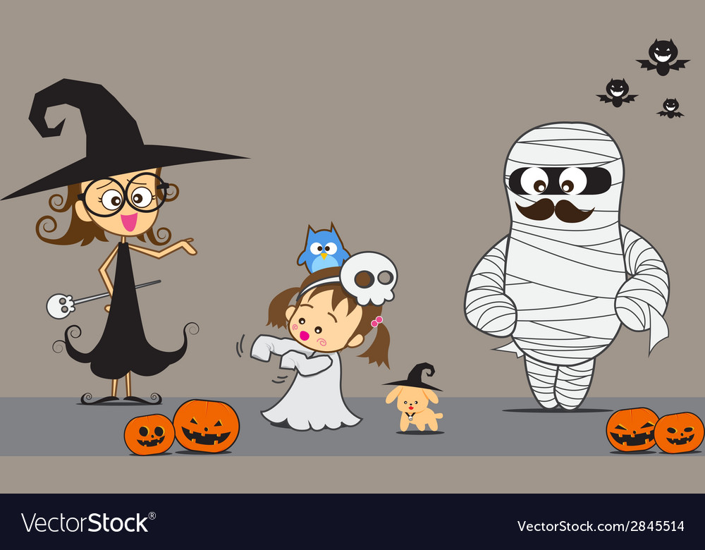 Halloween family 001 vector | Price: 1 Credit (USD $1)